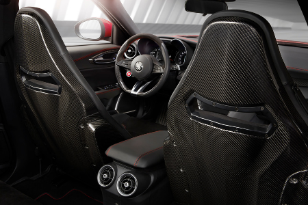 front interior of 2019 alfa romeo giulia quadrifoglio including steering wheel and front seats