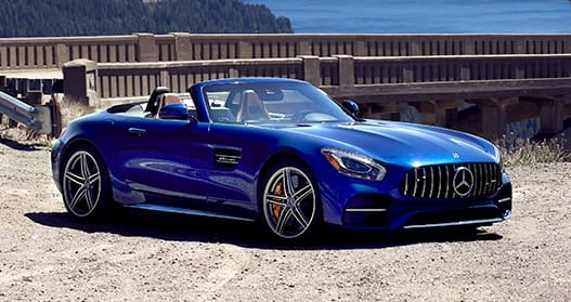 Exterior view of a blue 2020 Mercedes-Benz AMG GT Roadster