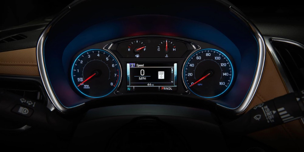 2018 Chevy Equinox interior trip computer and gauges above steering wheel
