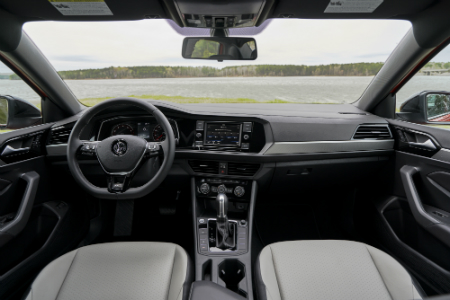 front interior of the 2019 volkswagen jetta including steering wheel and infotainment system