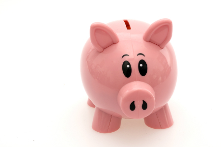 pink piggy bank against white background