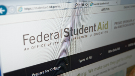 photo of computer screen with federal student aid information