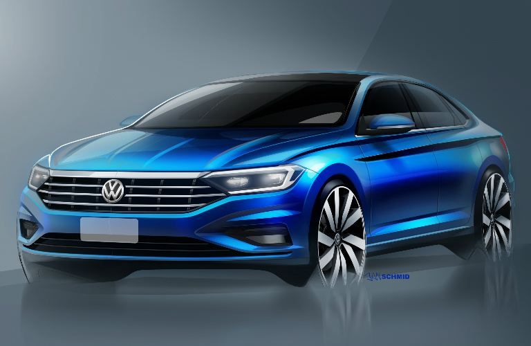 Sketch of Front View of Blue 2019 VW Jetta