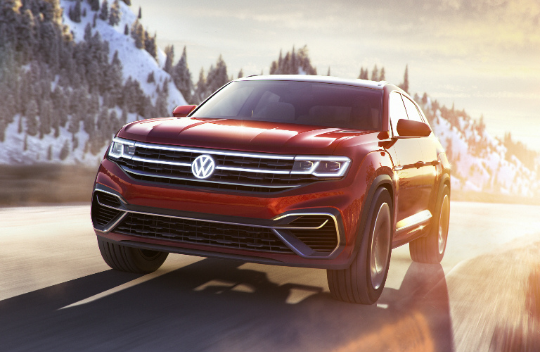 Front View of Red Volkswagen Atlas Cross Sport Concept