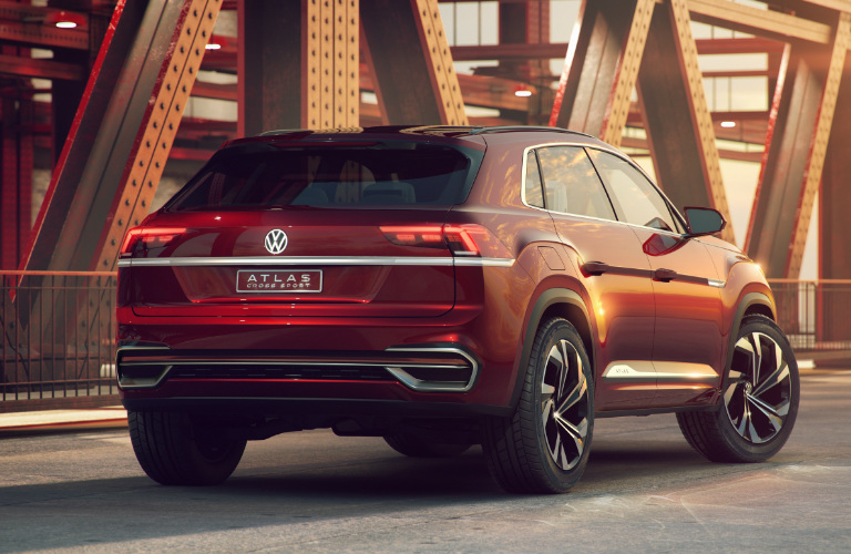 Rear View of Red Volkswagen Atlas Cross Sport Concept