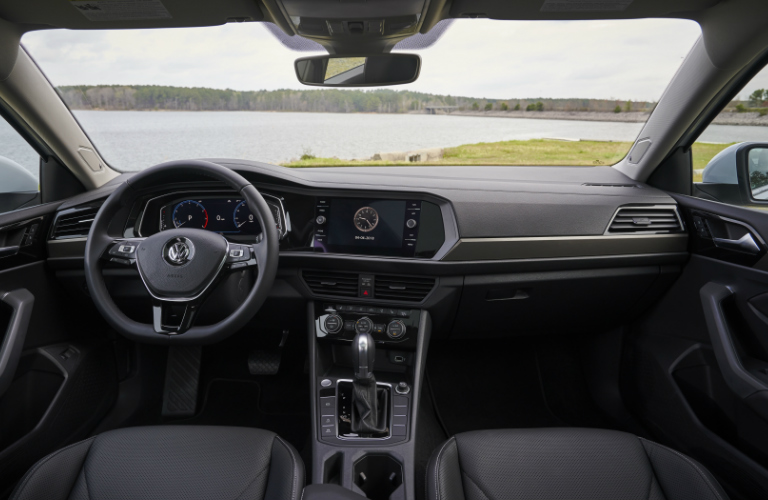 Dashboard and Black Seats of 2019 VW Jetta SEL Premium
