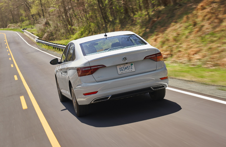 Rear View of White 2019 VW Jetta SEL Premium