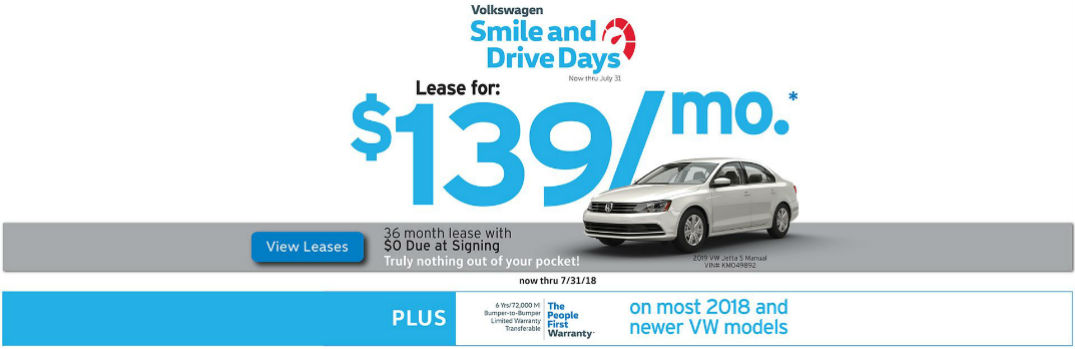 Volkswagen Smile and Drive Days and Lease for $139/month Heading and a White 2019 VW Passat