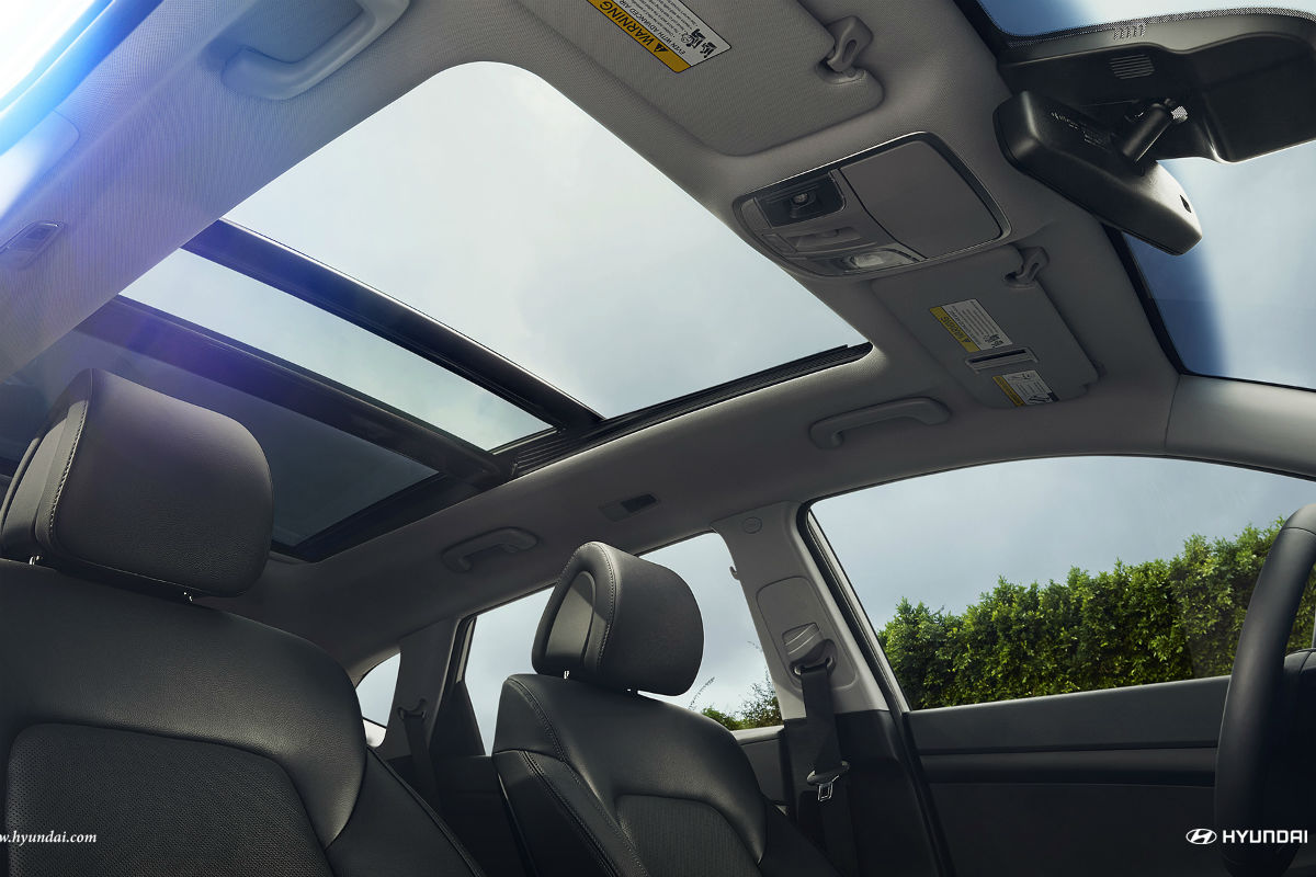 Looking out the sun roof of the 2018 Hyundai Tucson