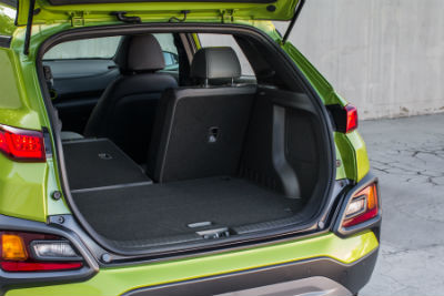2019 Hyundai Kona exterior looking inside at cargo space 1 seat folded down