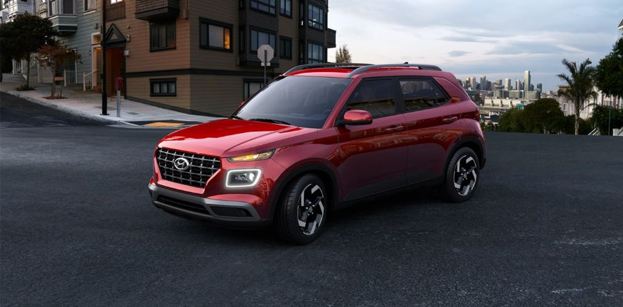 2020 Hyundai Venue Exterior Driver Side Front Profile in Scarlet Red Pearl