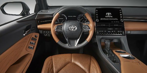 Tan and Black 2019 Toyota Avalon Limited Front Seat Interior Steering Wheel, Dashboard and Touchscreen Display