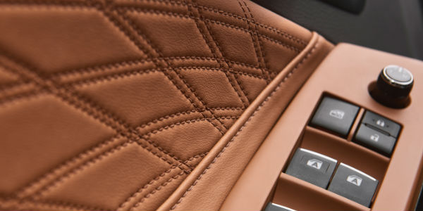 Close Up of 2019 Toyota Avalon Tan Quilted Leather Door Panel
