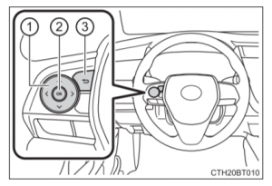 Diagram of 2018 Toyota Camry Steering Wheel Controls for Multi-Information Display in Camry Owner's Manual