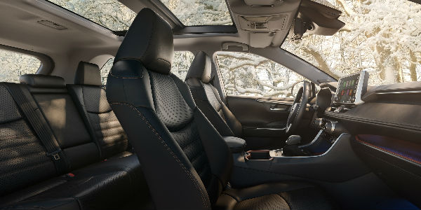 Front and Rear 2019 Toyota RAV4 Interior with Panoramic Sunroof
