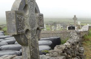 Close Up of Celtic Cross Headstone