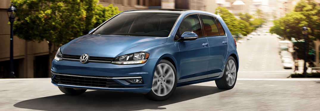 front and side view of blue 2019 volkswagen golf