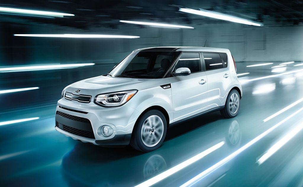 2018 Kia Soul in a warehouse with lights reflected on the floor