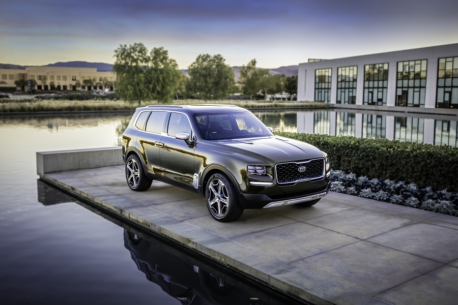 Kia Telluride stationed on end of dock by large house