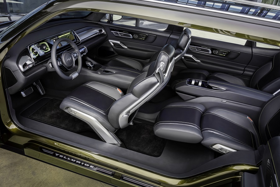 Kia Telluride interior shown from top down isometry with roof missing