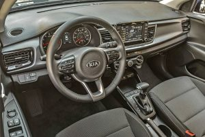 steering hweel and touchscreen in 2018 kia rio