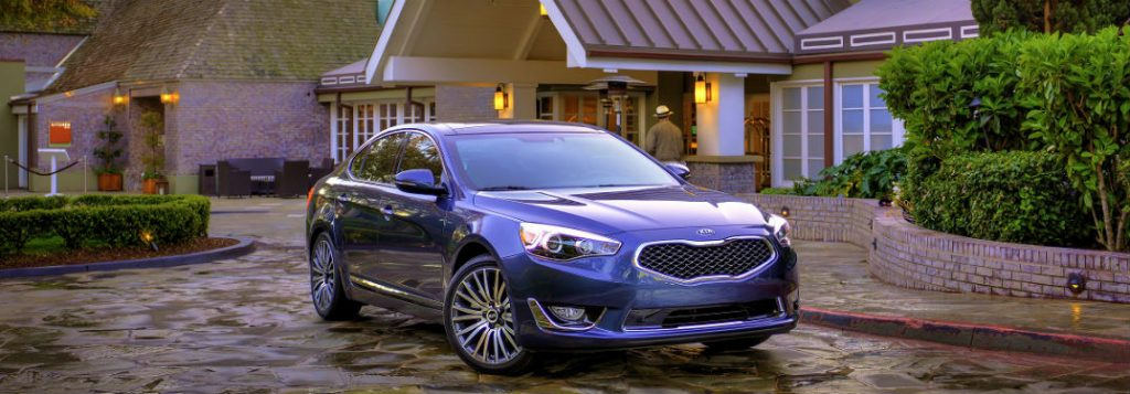 blue 2014 kia cadenza in front of big house in new port richey florida
