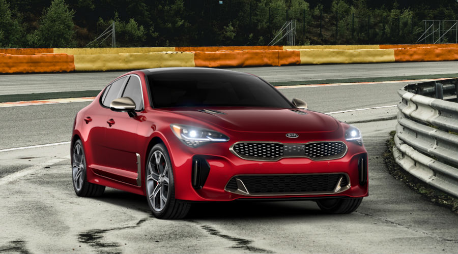 2020 kia stinger on the track in hichroma red