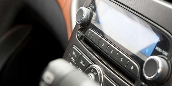 Closeup of cd player in automobile