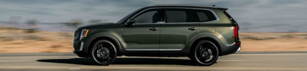 Side view of green 2020 Kia Telluride