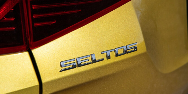 Closeup of emblem on 2021 Kia Seltos