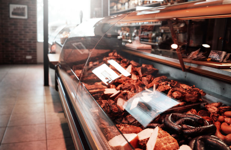 Meat shop display counter