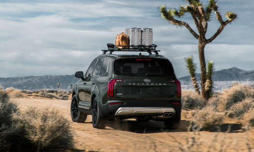 Rear view of 2021 Kia Telluride with cargo on roof
