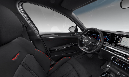 Black SynTex interior with red accents in 2021 Kia K5