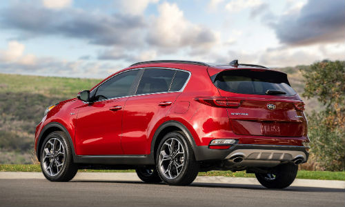 Rear exterior of red 2021 Kia Sportage