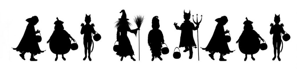 Black silhouettes of Halloween costumes