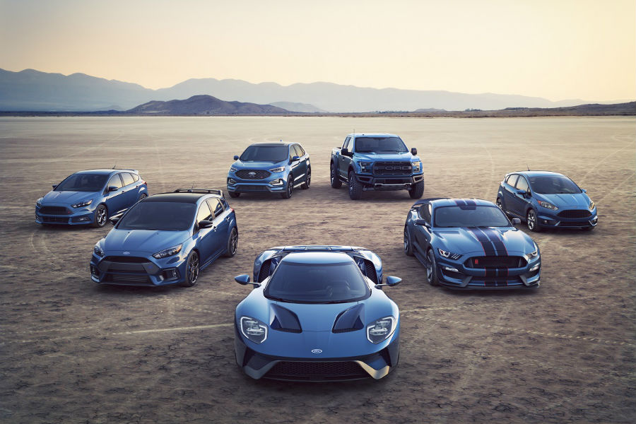 ford performance lineup for 2018 and 2019 all in blue on desert floor
