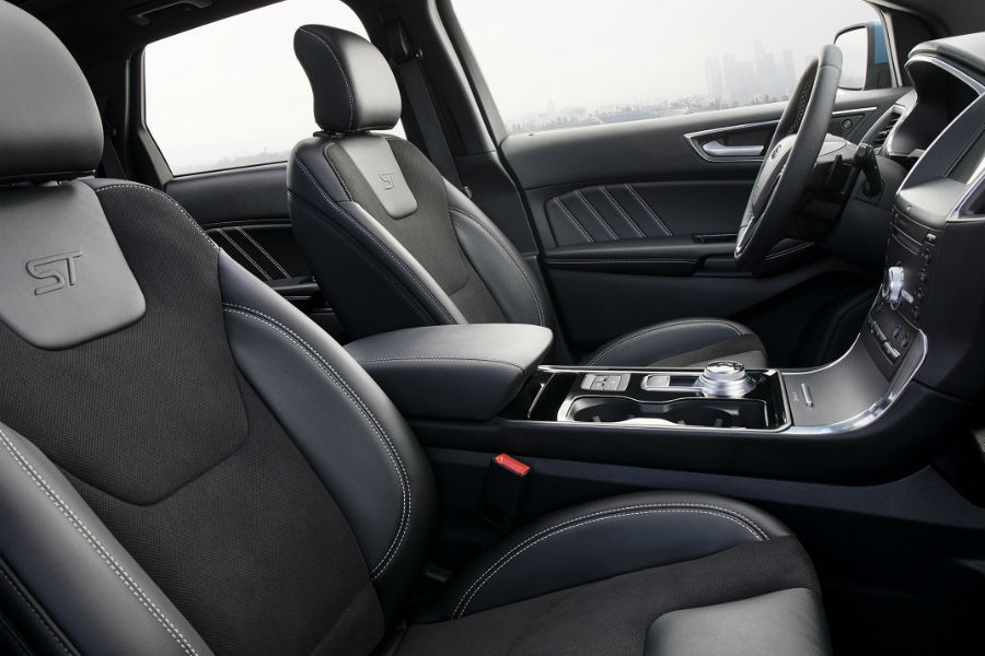 interior of the 2019 ford edge st in black with ST stitching on seats