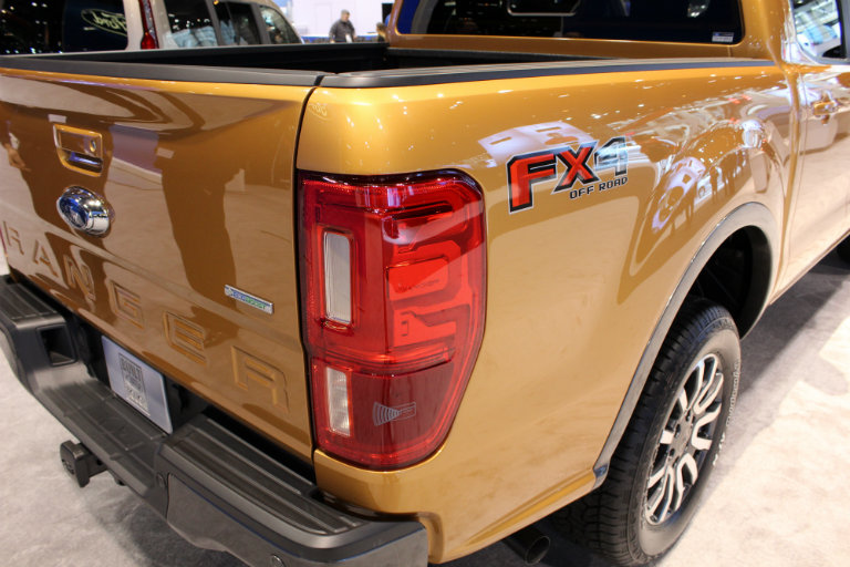taillight and FX4 Off-Road Package branding on the 2019 Ford Ranger at the Chicago Auto Show 2018