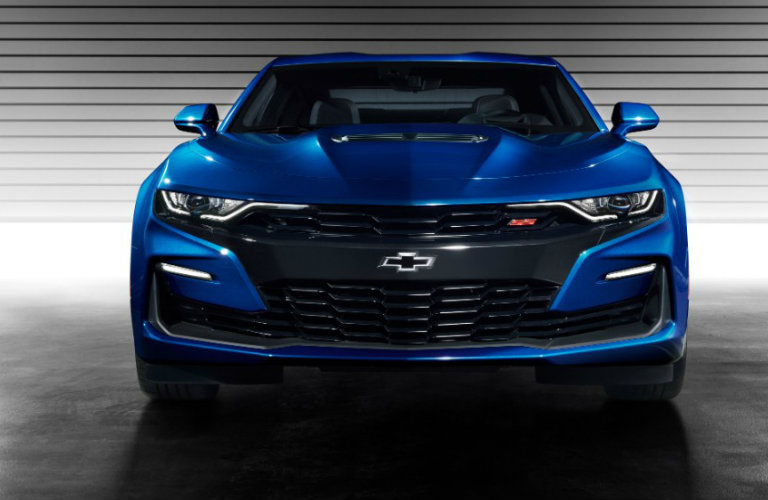 front view of a blue 2019 Chevy Camaro SS