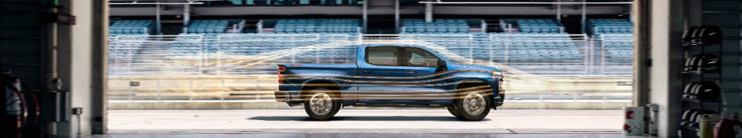 2019 Chevy Silverado, seen from the side with aerodynamic diagrams of where the air flows around it