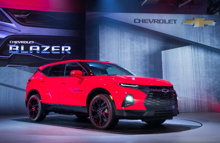 side view 2019 Chevy Blazer, at reveal event
