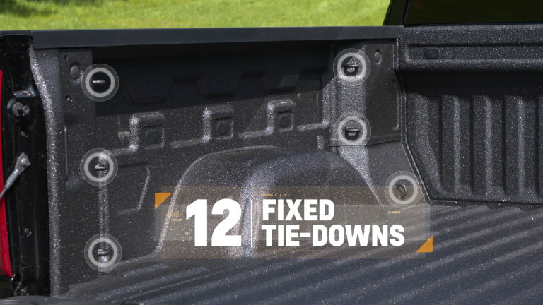12 fixed tie downs in the 2019 Chevy Silverado truck bed