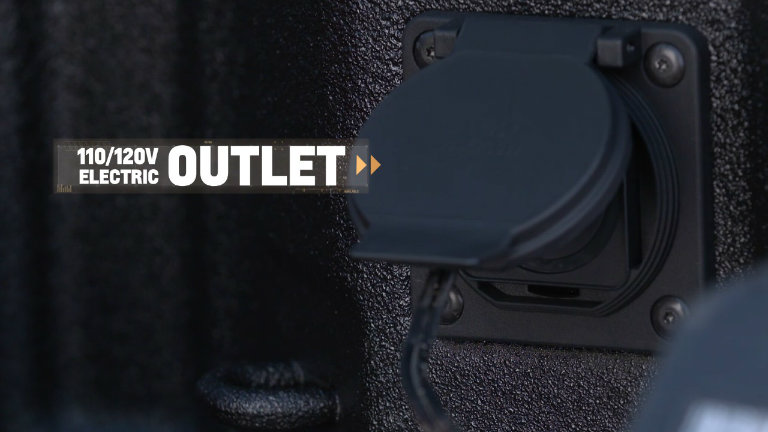 110/120-volt electric power outlet in the 2019 Chevy Silverado truck bed