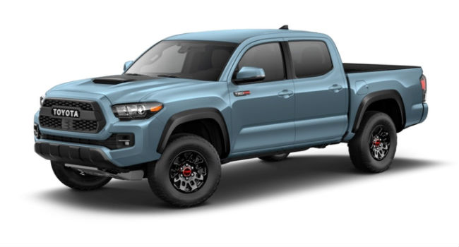 A front left quarter view of a Calvary Blue versions of the 2018 Tacoma