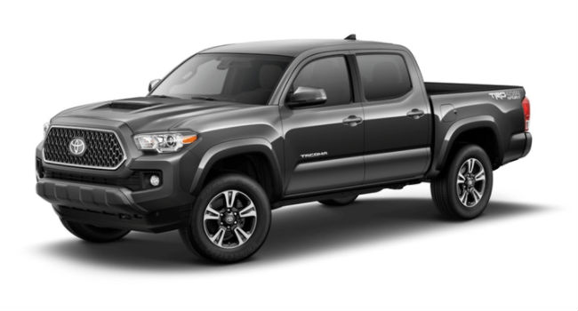 A front right view of a Magnetic Gray Metallic version of the 2018 Toyota Tacoma