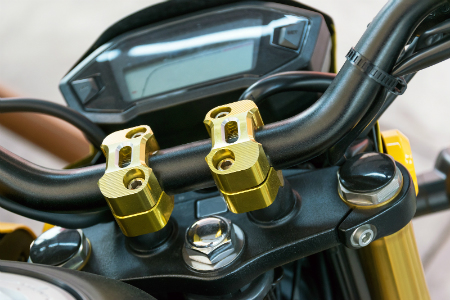 close up of center handlebars of motorcycle
