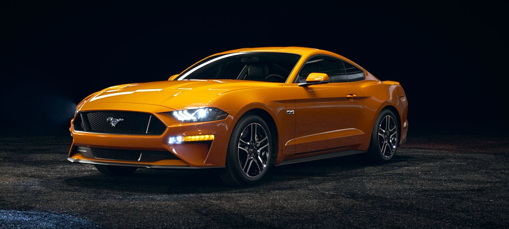 2018 Ford Mustang Orange Fury Front Side View