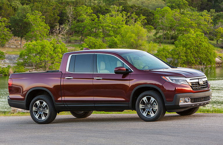 red 2018 Honda Ridgeline side view