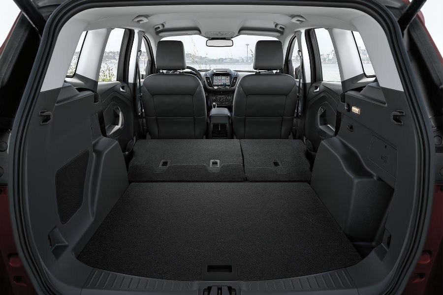 Ford Escape Cargo Space Seen Through Rear Liftgate Interior Fabric Dark Charcoal