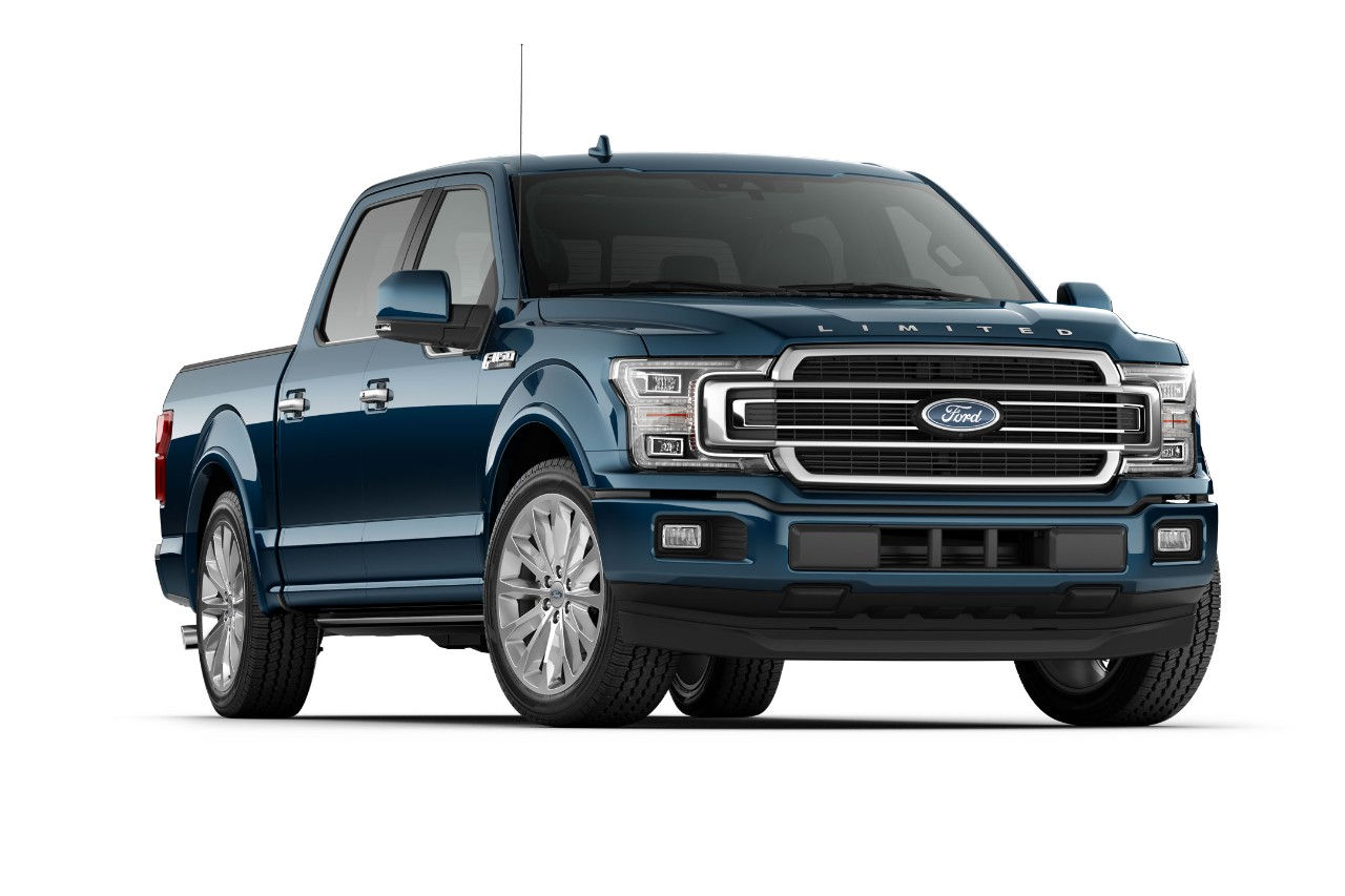 2018 f 150 limited in dark blue on white bg